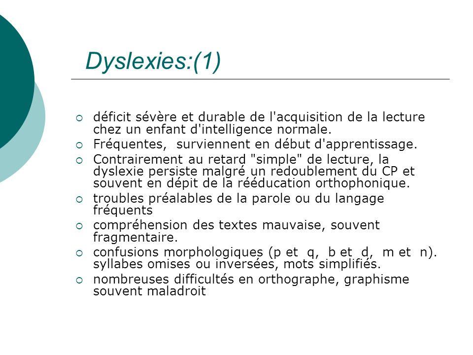 Dyslexies:(1)déficit sévère et durable de l acquisition de la lecture chez un enfant d intelligence normale.