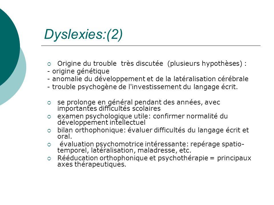 Dyslexies:(2)Origine du trouble très discutée (plusieurs hypothèses) : - origine génétique.