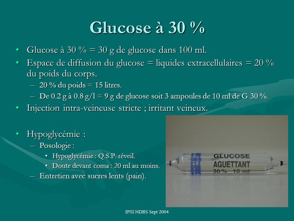 Glucose à 30 % Glucose à 30 % = 30 g de glucose dans 100 ml.
