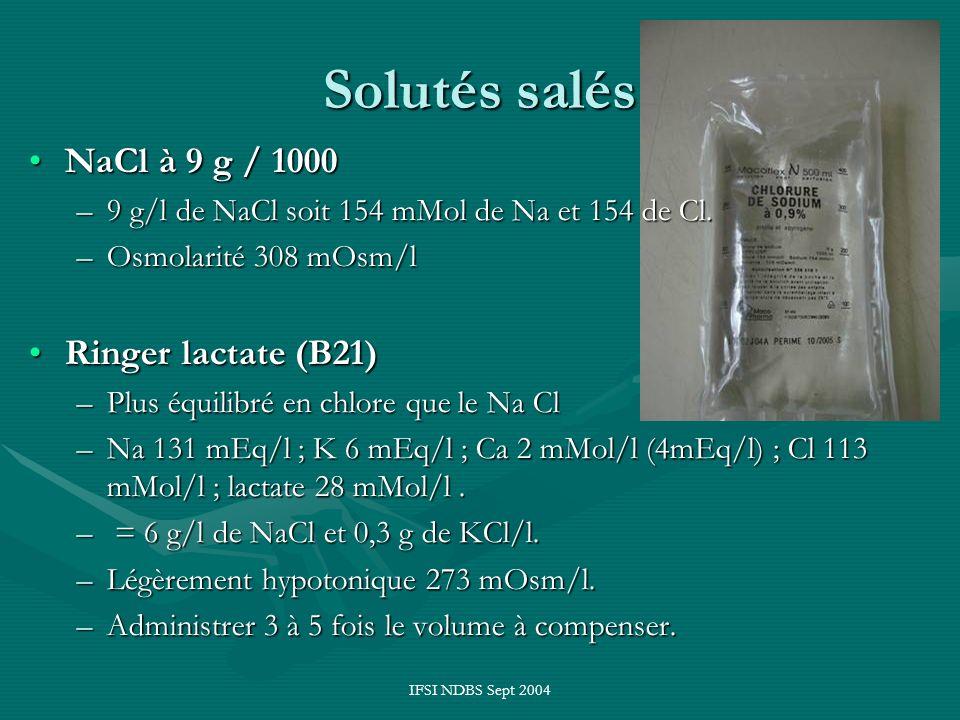 Solutés salés NaCl à 9 g / 1000 Ringer lactate (B21)