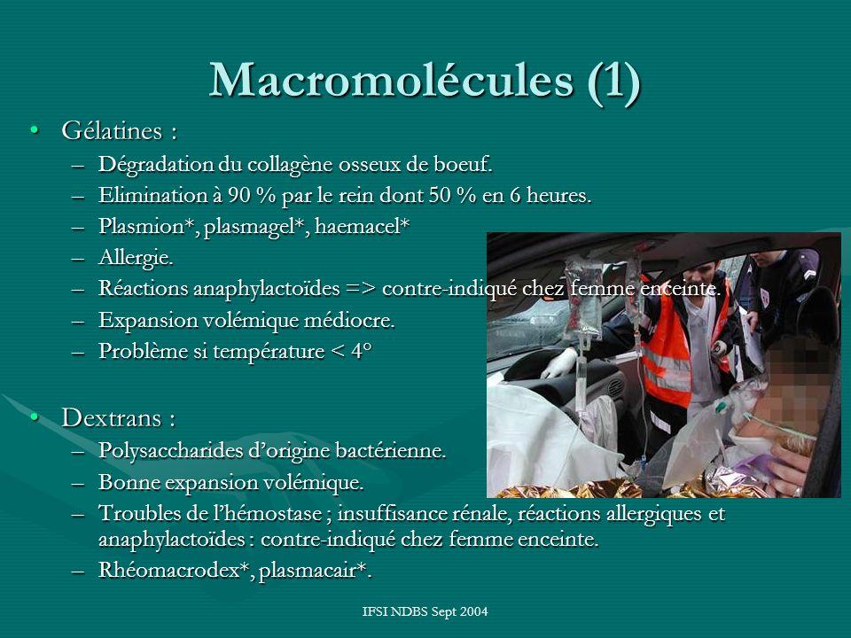 Macromolécules (1) Gélatines : Dextrans :