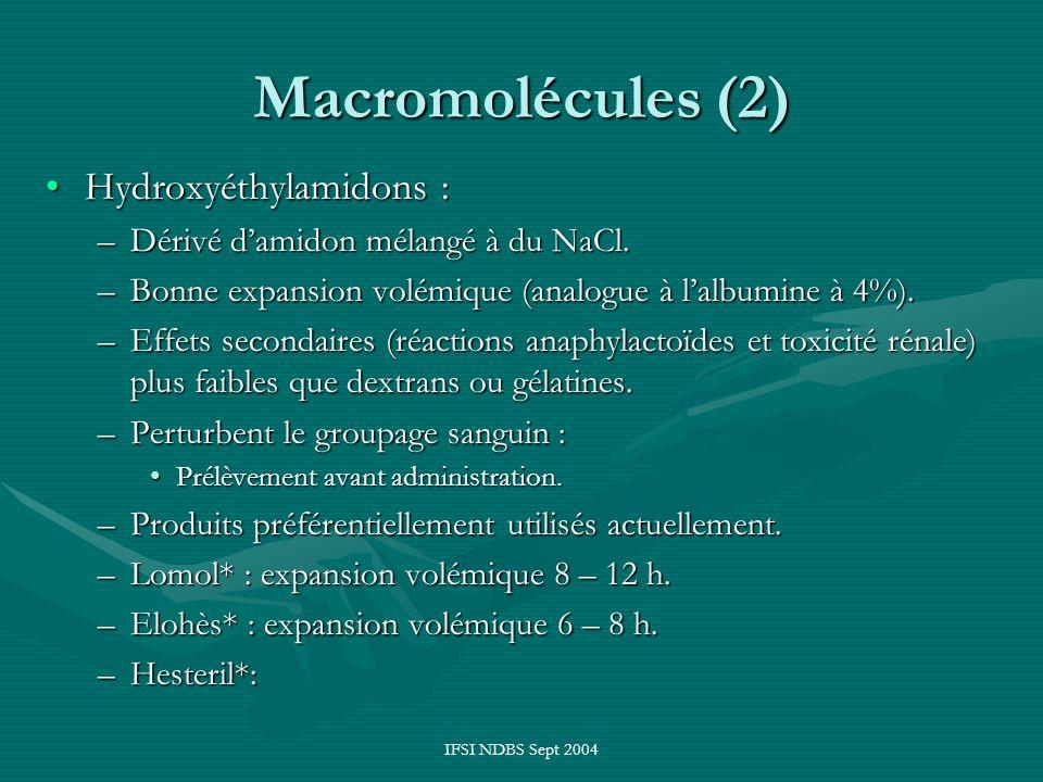 Macromolécules (2) Hydroxyéthylamidons :