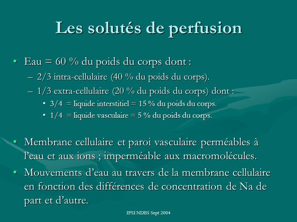 Les solutés de perfusion
