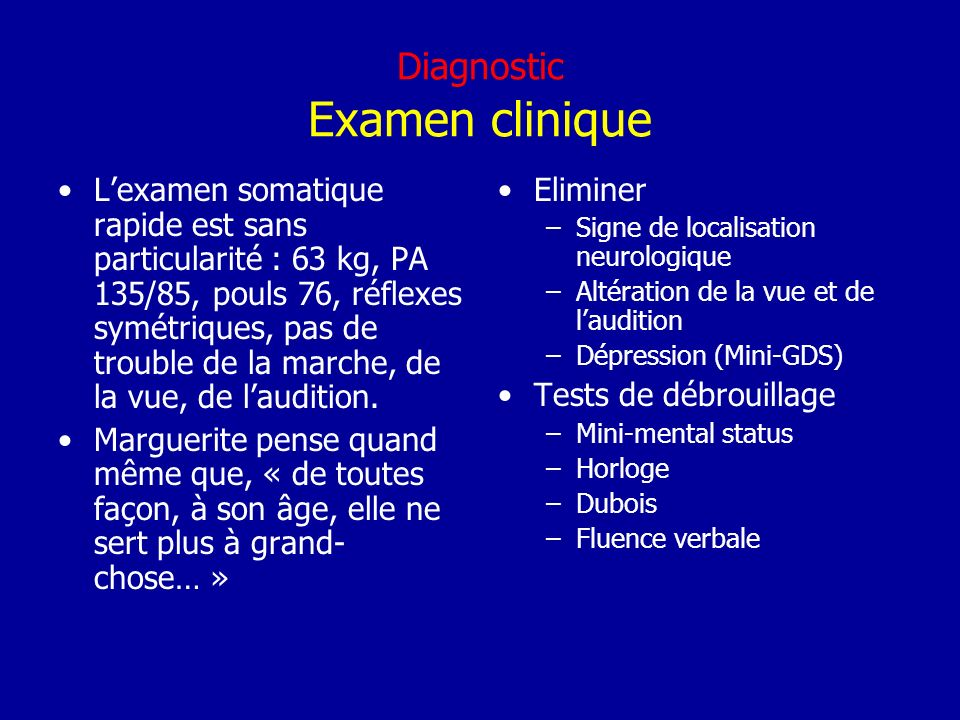 Diagnostic Examen clinique