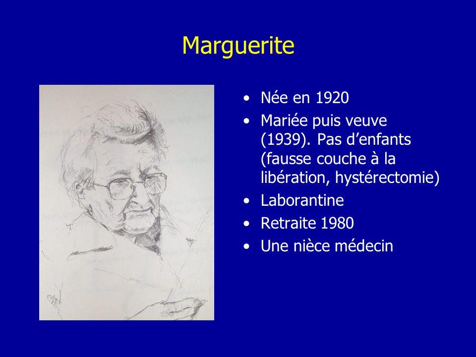 Marguerite Née en 1920. Mariée puis veuve (1939). Pas d'enfants (fausse couche à la libération, hystérectomie)