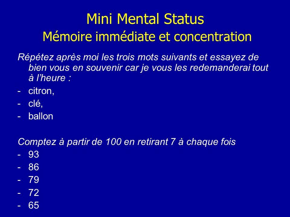 Mini Mental Status Mémoire immédiate et concentration