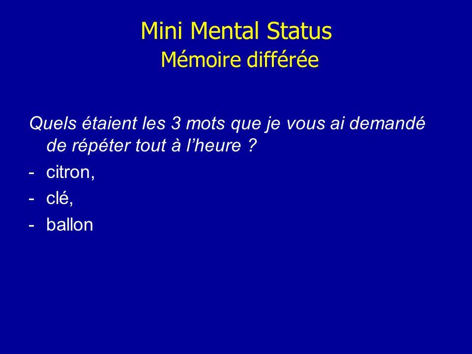 Mini Mental Status Mémoire différée