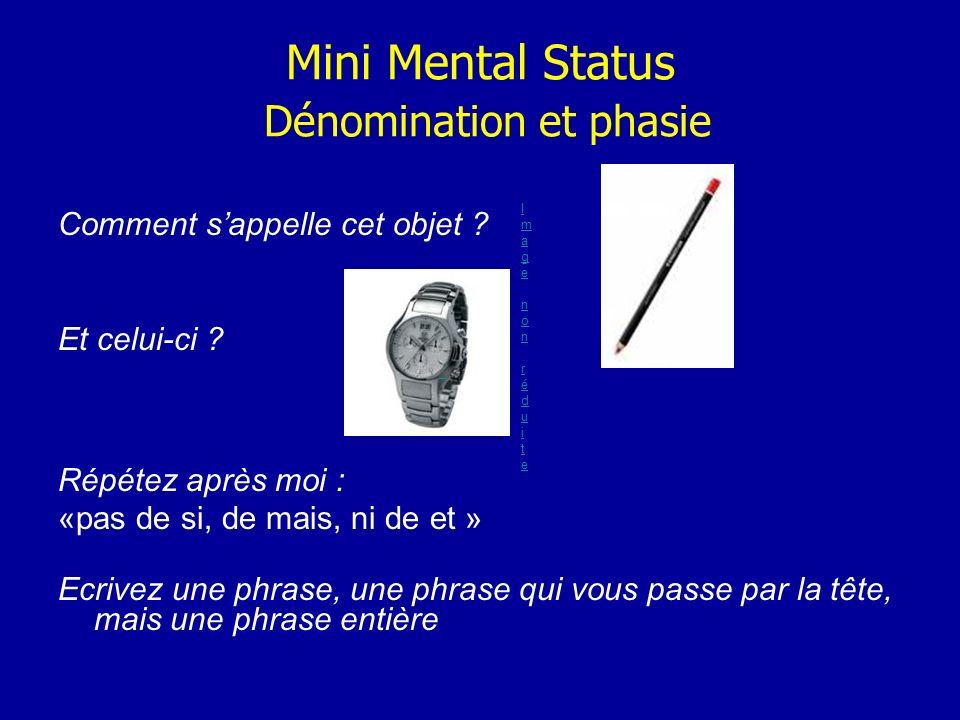 Mini Mental Status Dénomination et phasie