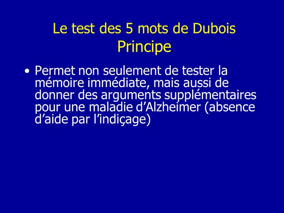 Le test des 5 mots de Dubois Principe