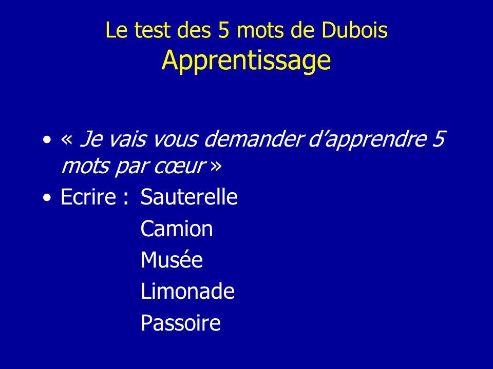 Le test des 5 mots de Dubois Apprentissage