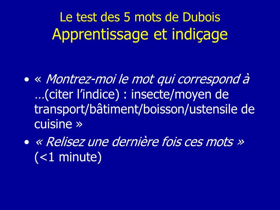 Le test des 5 mots de Dubois Apprentissage et indiçage