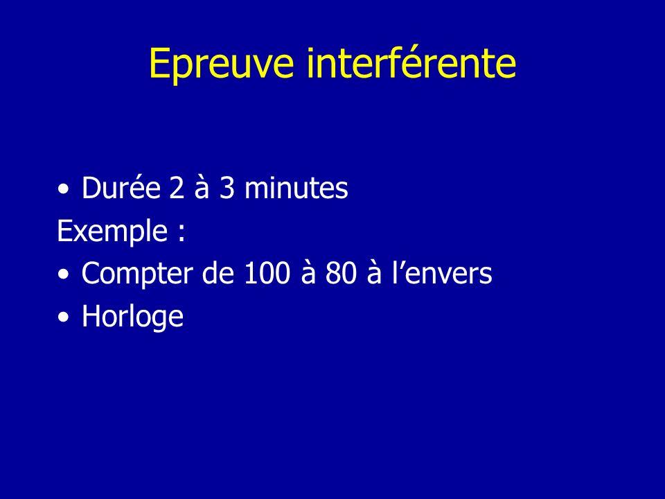 Epreuve interférente Durée 2 à 3 minutes Exemple :