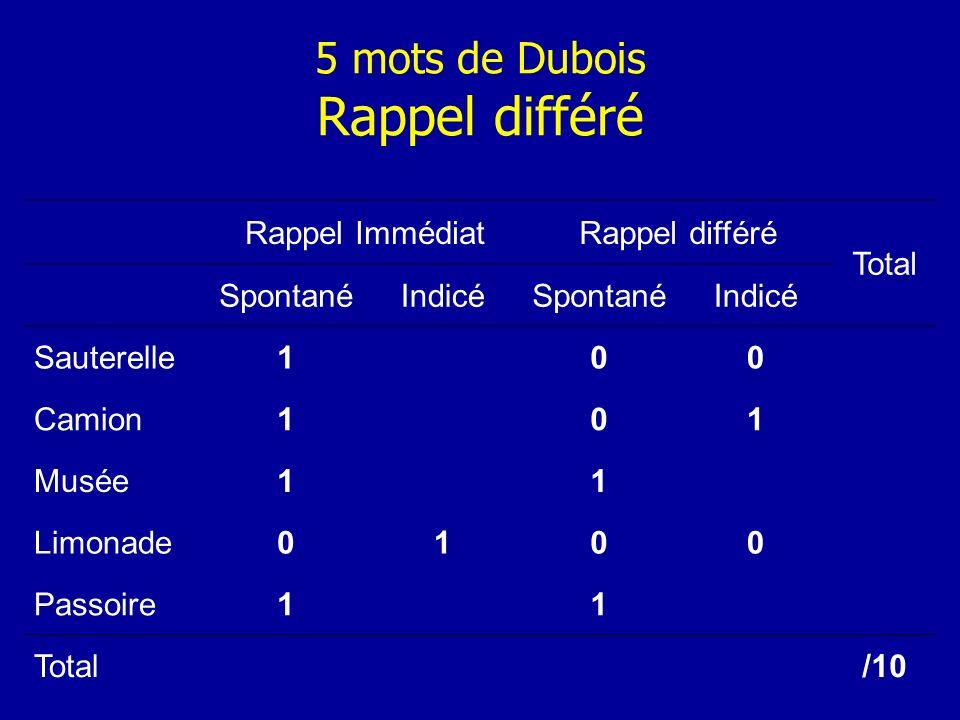5 mots de Dubois Rappel différé