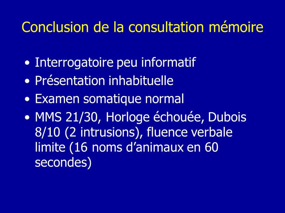 Conclusion de la consultation mémoire