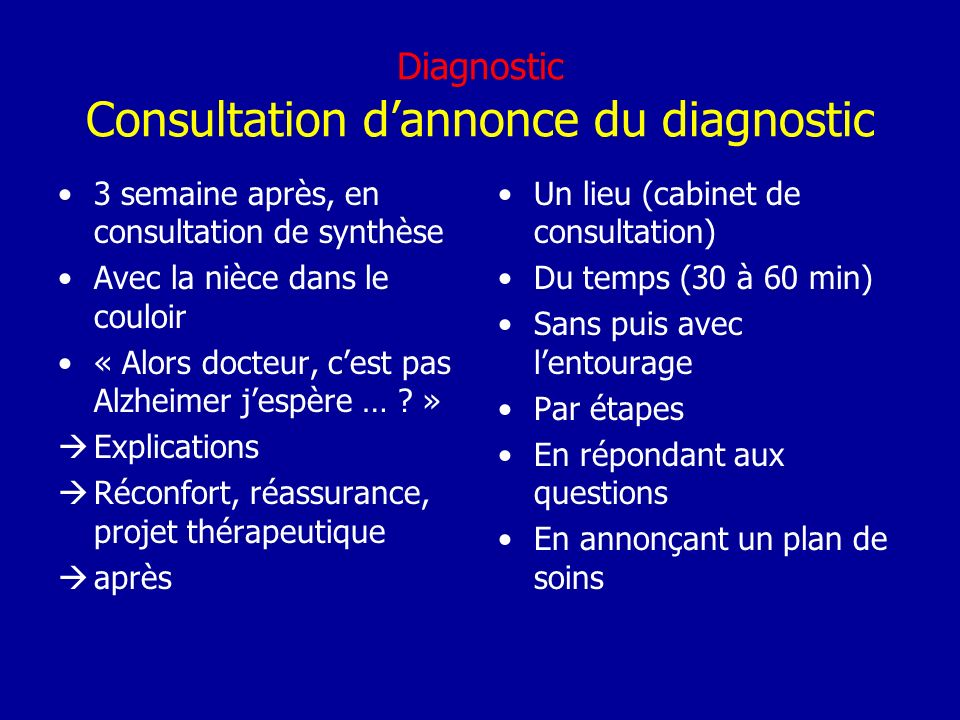 Diagnostic Consultation d'annonce du diagnostic