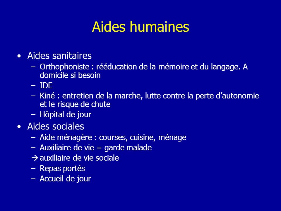 Aides humaines Aides sanitaires Aides sociales