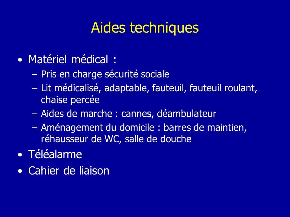 Aides techniques Matériel médical : Téléalarme Cahier de liaison