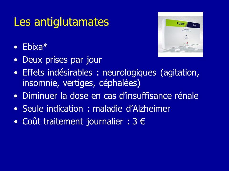 Les antiglutamates Ebixa* Deux prises par jour