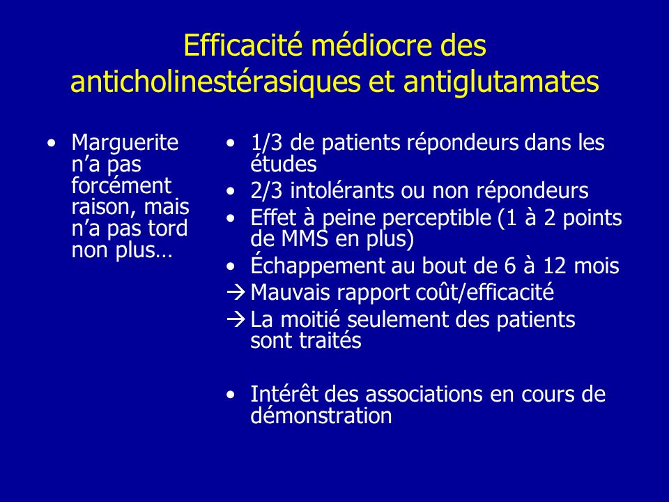 Efficacité médiocre des anticholinestérasiques et antiglutamates