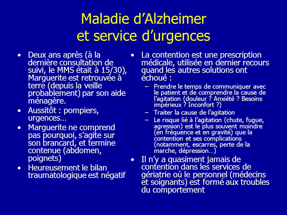 Maladie d'Alzheimer et service d'urgences