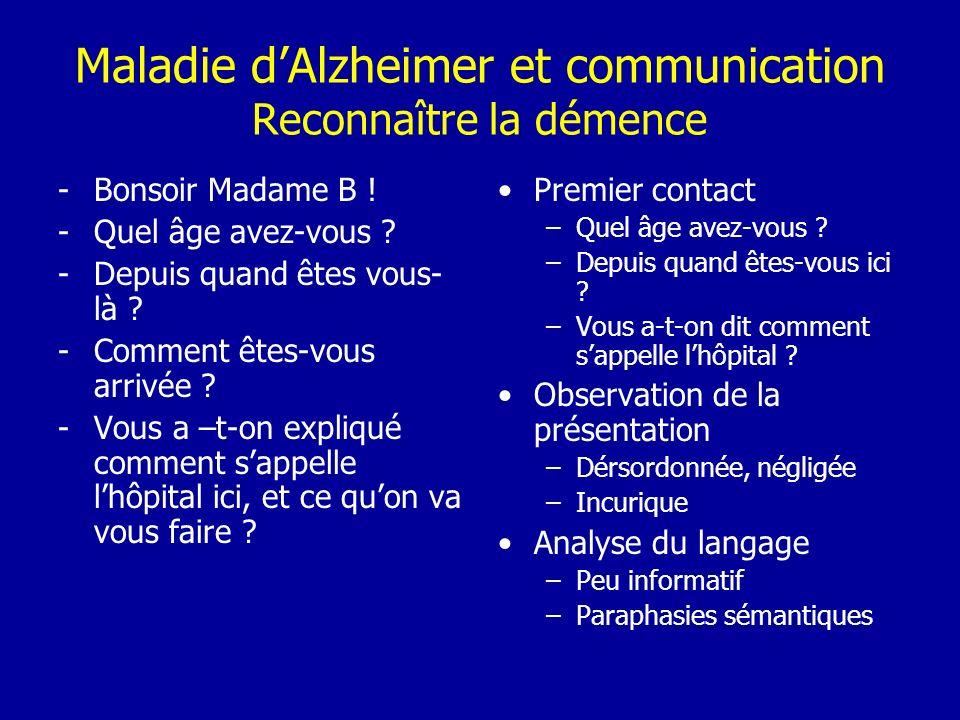 Maladie d'Alzheimer et communication Reconnaître la démence