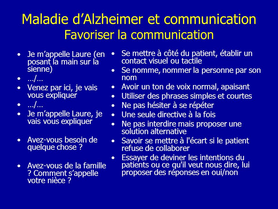 Maladie d'Alzheimer et communication Favoriser la communication