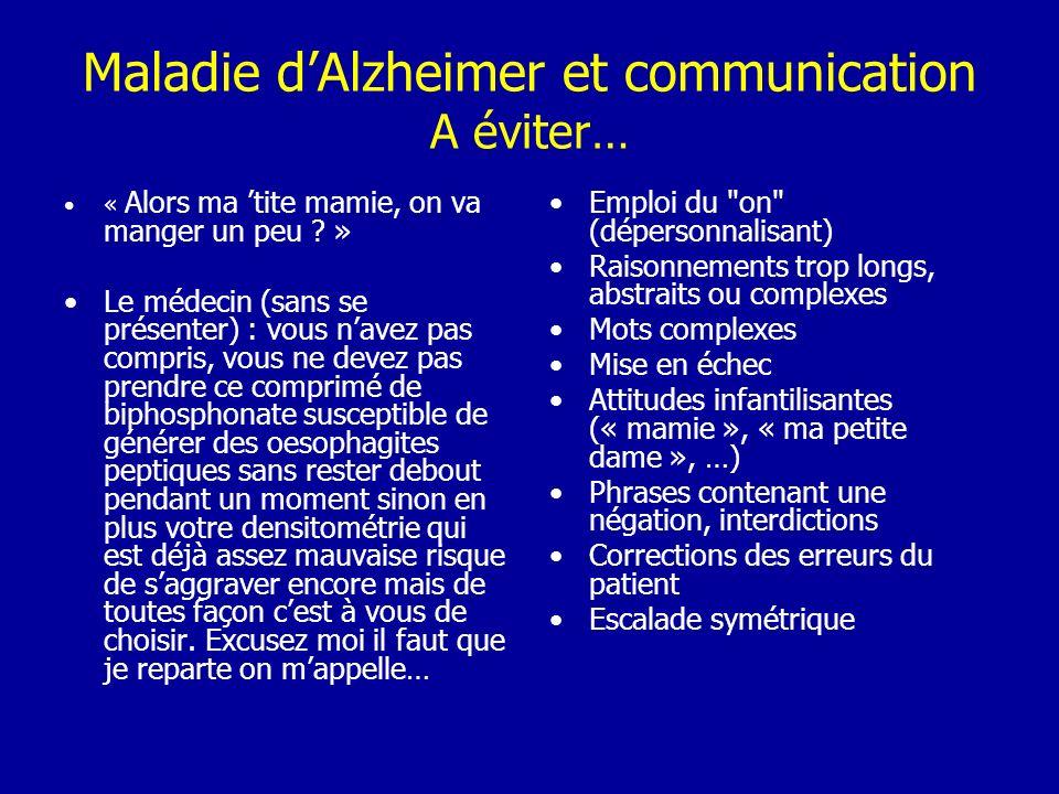 Maladie d'Alzheimer et communication A éviter…
