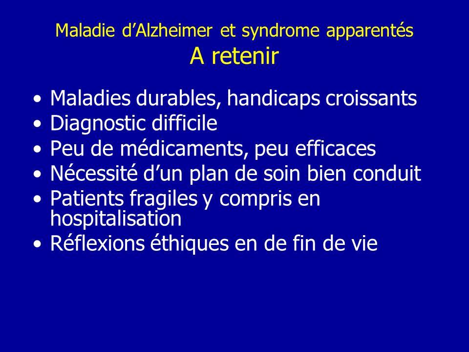 Maladie d'Alzheimer et syndrome apparentés A retenir