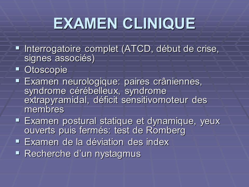 EXAMEN CLINIQUE Interrogatoire complet (ATCD, début de crise, signes associés) Otoscopie.