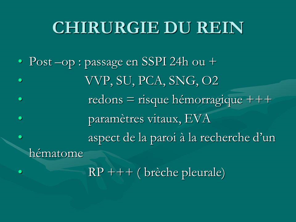 CHIRURGIE DU REIN Post –op : passage en SSPI 24h ou +