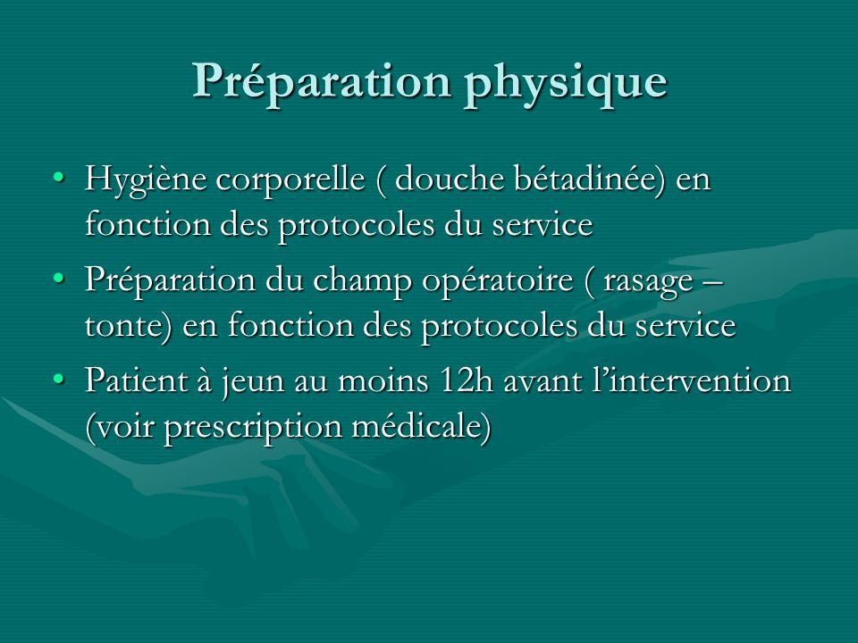 Préparation physique Hygiène corporelle ( douche bétadinée) en fonction des protocoles du service.