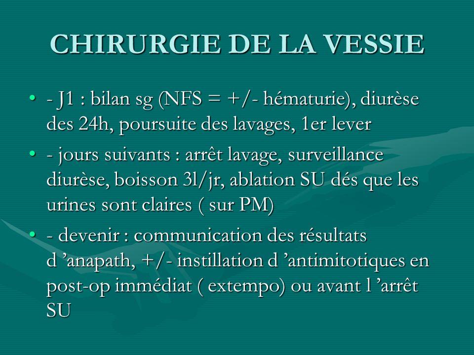 CHIRURGIE DE LA VESSIE- J1 : bilan sg (NFS = +/- hématurie), diurèse des 24h, poursuite des lavages, 1er lever.