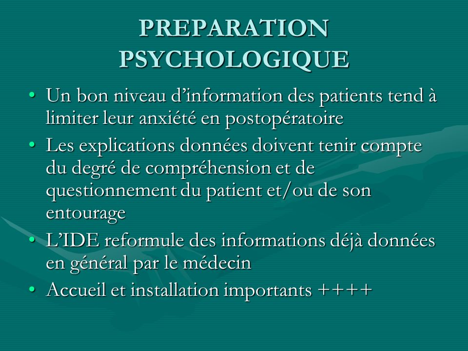 PREPARATION PSYCHOLOGIQUE
