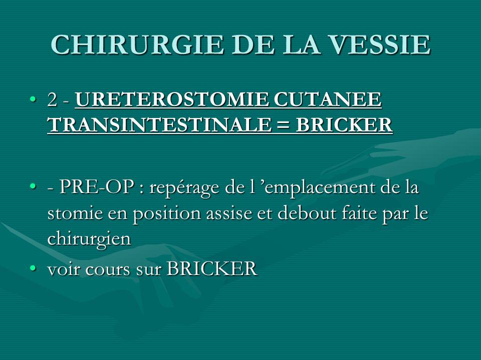 CHIRURGIE DE LA VESSIE 2 - URETEROSTOMIE CUTANEE TRANSINTESTINALE = BRICKER.