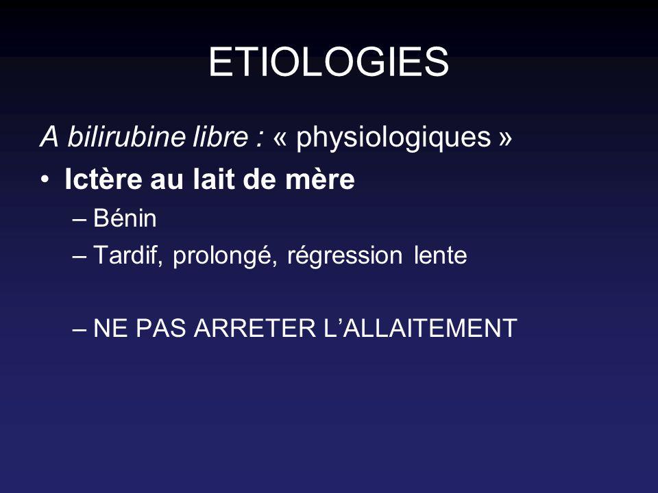 ETIOLOGIES A bilirubine libre : « physiologiques »