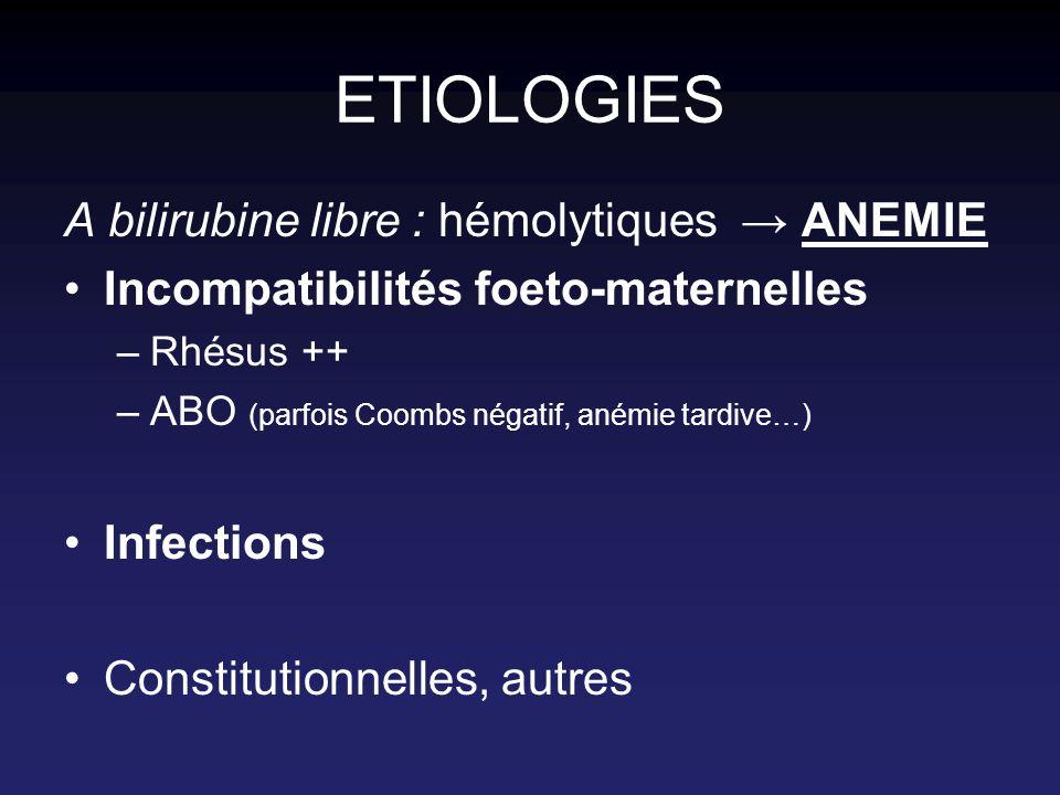 ETIOLOGIES A bilirubine libre : hémolytiques → ANEMIE
