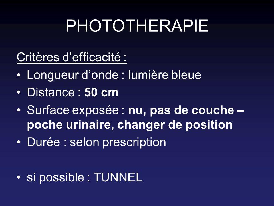 PHOTOTHERAPIE Critères d'efficacité : Longueur d'onde : lumière bleue