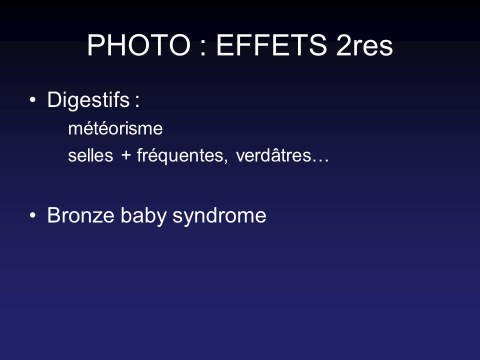 PHOTO : EFFETS 2res Digestifs : Bronze baby syndrome météorisme