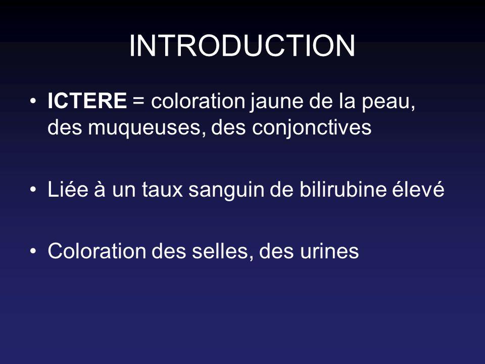 INTRODUCTION ICTERE = coloration jaune de la peau, des muqueuses, des conjonctives. Liée à un taux sanguin de bilirubine élevé.