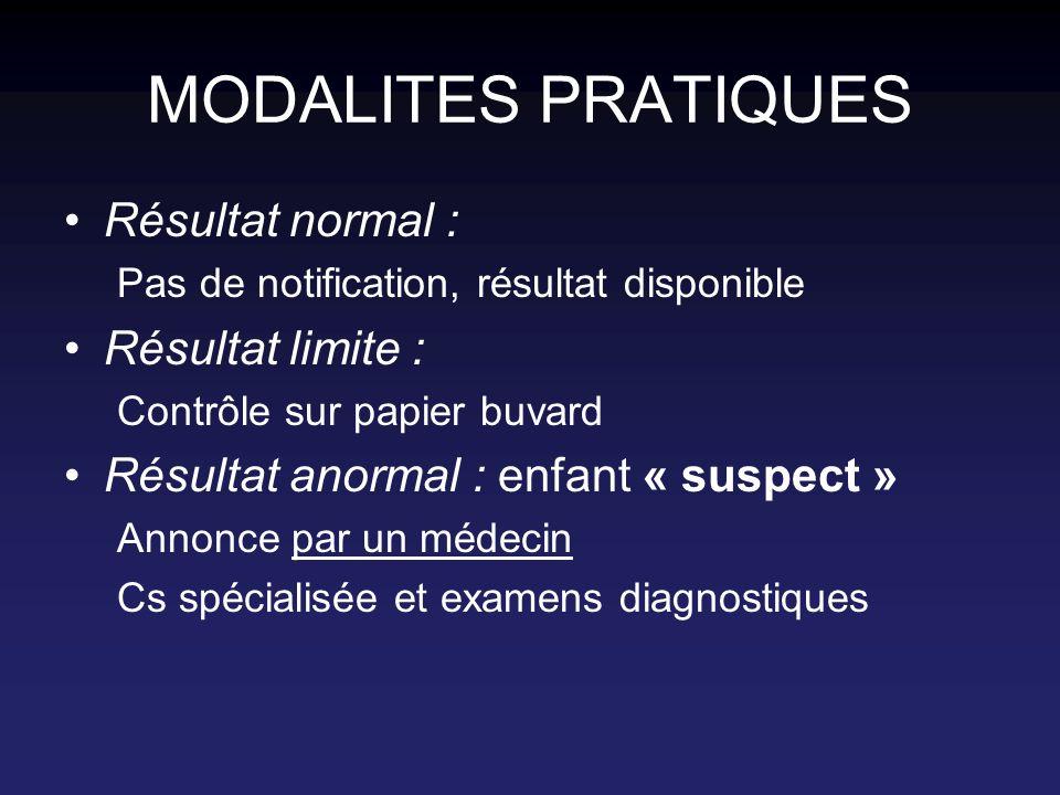 MODALITES PRATIQUES Résultat normal : Résultat limite :