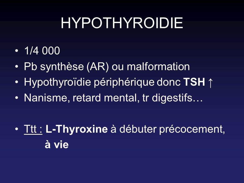 HYPOTHYROIDIE 1/4 000 Pb synthèse (AR) ou malformation