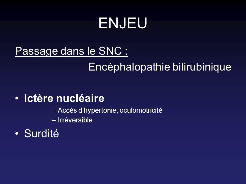 ENJEU Passage dans le SNC : Encéphalopathie bilirubinique