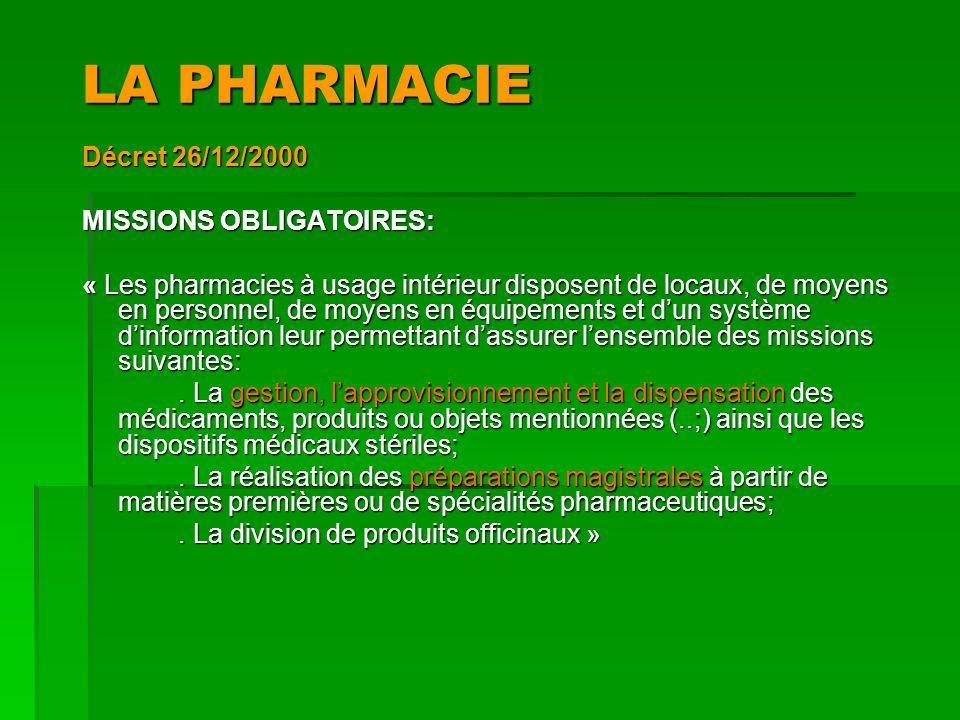 LA PHARMACIE Décret 26/12/2000 MISSIONS OBLIGATOIRES: