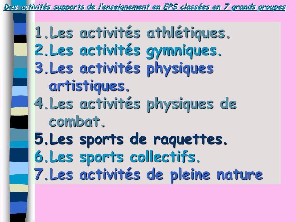 Les activités athlétiques. Les activités gymniques.