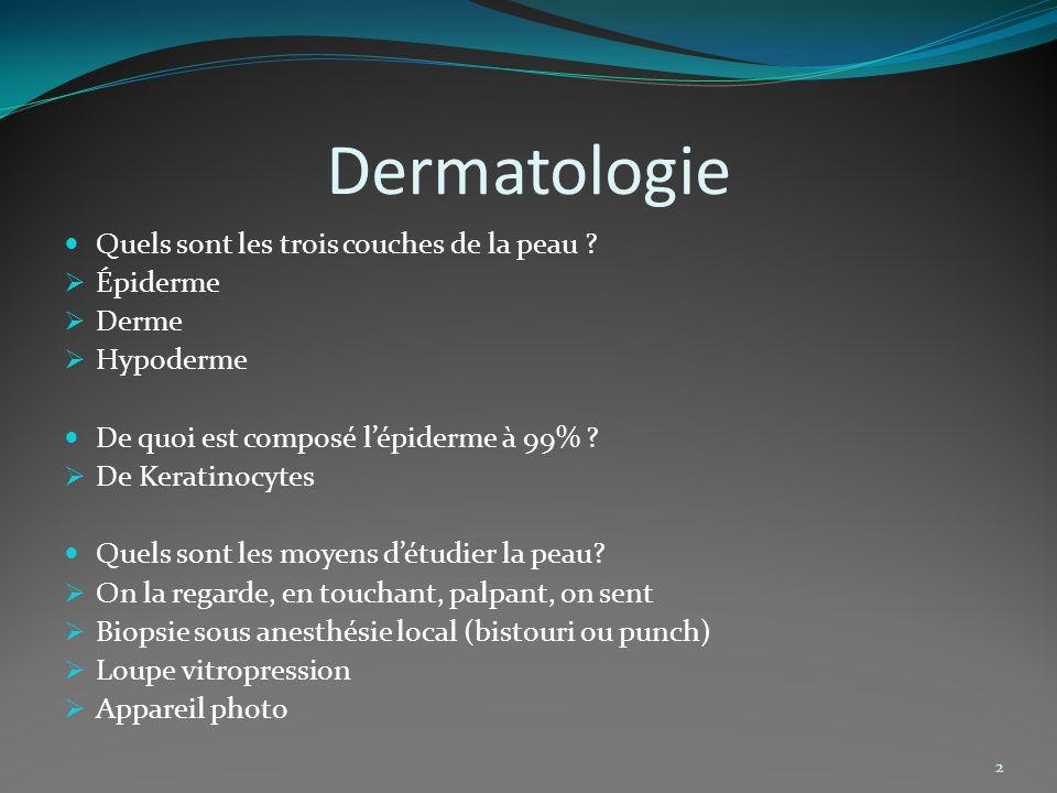 Dermatologie Quels sont les trois couches de la peau Épiderme Derme