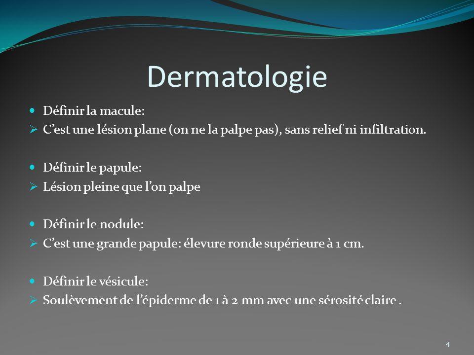 Dermatologie Définir la macule: