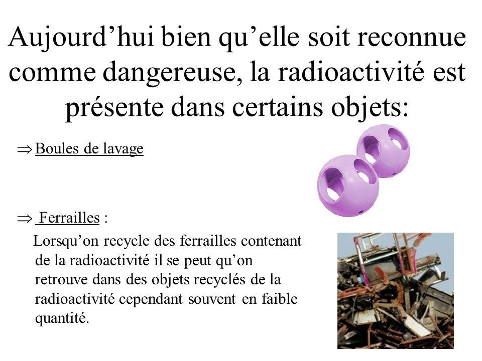 Aujourd'hui bien qu'elle soit reconnue comme dangereuse, la radioactivité est présente dans certains objets: