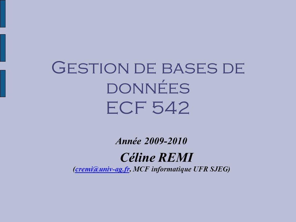 Gestion de bases de données ECF 542