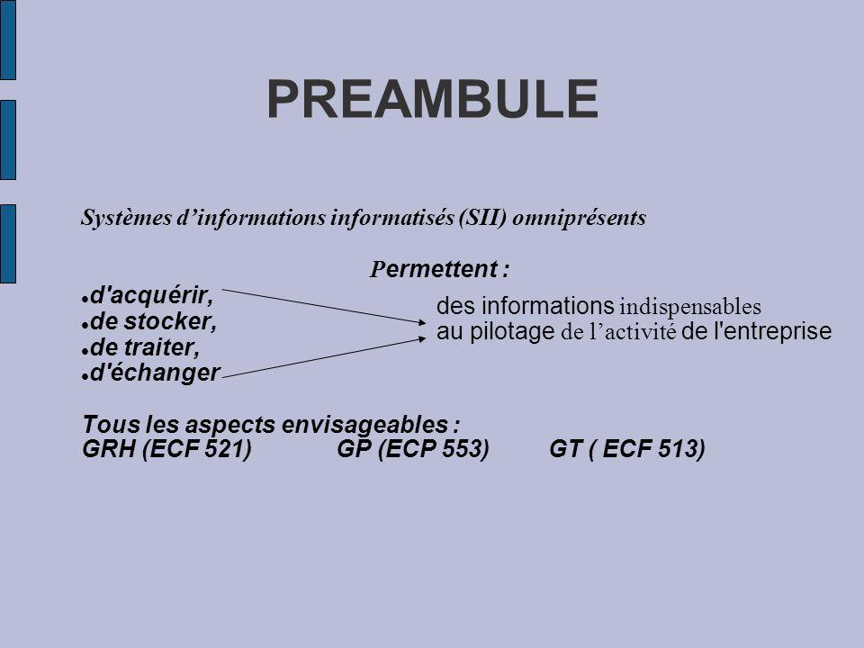 PREAMBULE Systèmes d'informations informatisés (SII) omniprésents