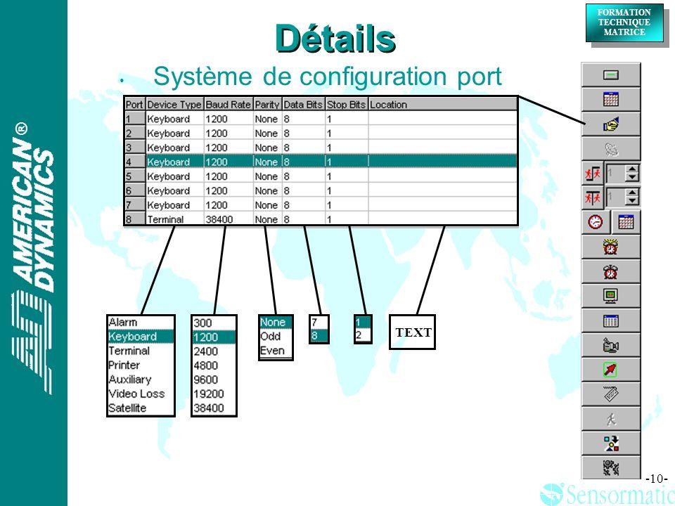 Détails Système de configuration port TEXT
